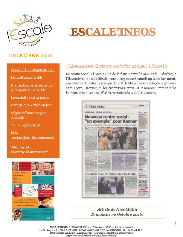 Escal'infos Décembre 2016