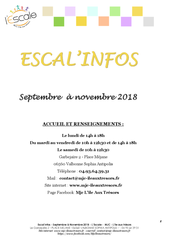 Escal'infos Septembre/octobre/novembre 2018