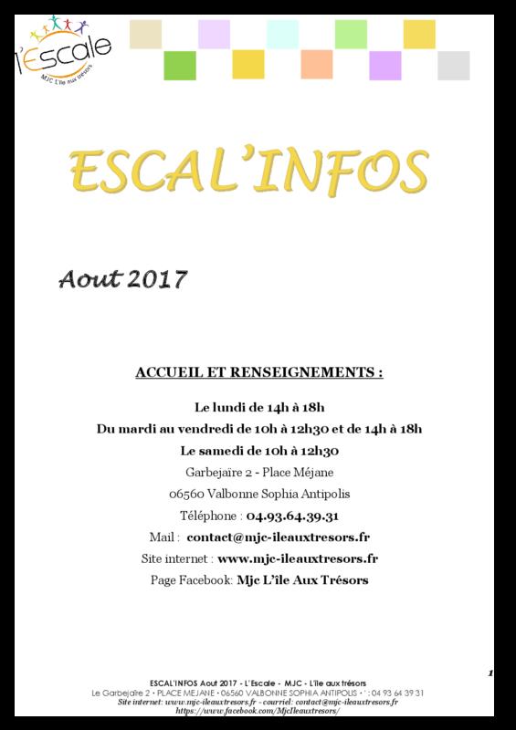Escal'infos Août 2017