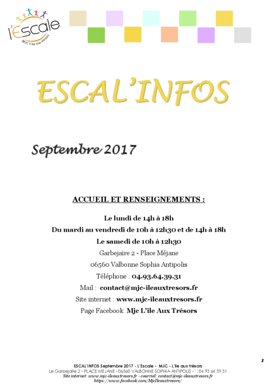 Escal'infos Septembre 2017