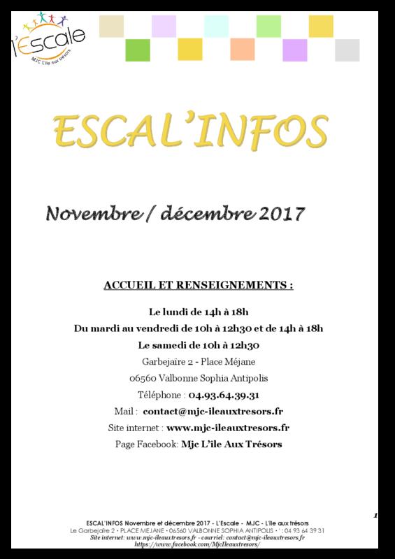 Escal'infos Novembre/Décembre 2017