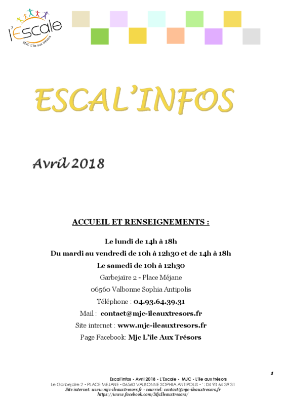 Escal'infos Avril 2018