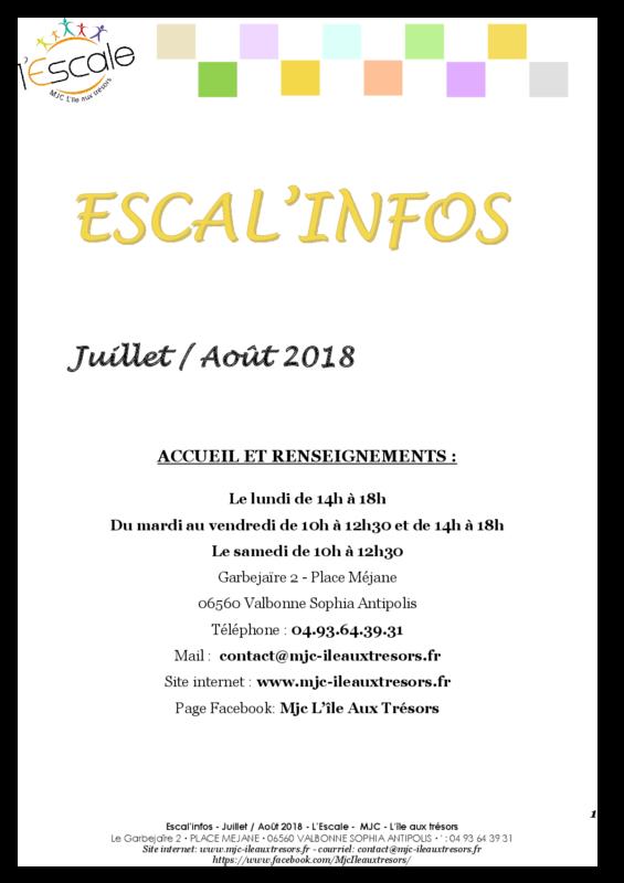Escal'infos Juillet/Août 2018